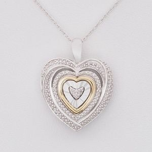 •Diamond Accent Two-Tone Heart Pendant Necklace